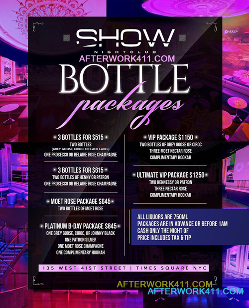 Saturday Show NYC Nightclub  Bottle Packages Times Square NYC Bottle Reservation Saturday Night at Club Show New York City Flyer