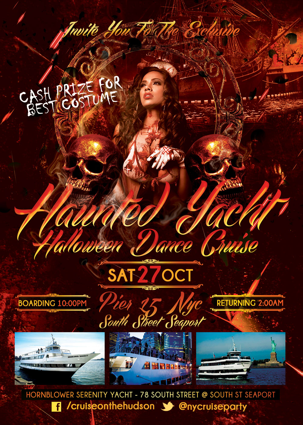 Haunted Yacht Halloween Cruise NYC Halloween aboard Hornblower Serenity Yacht Pier 15 NYC South Street Seaport New York Halloween Party