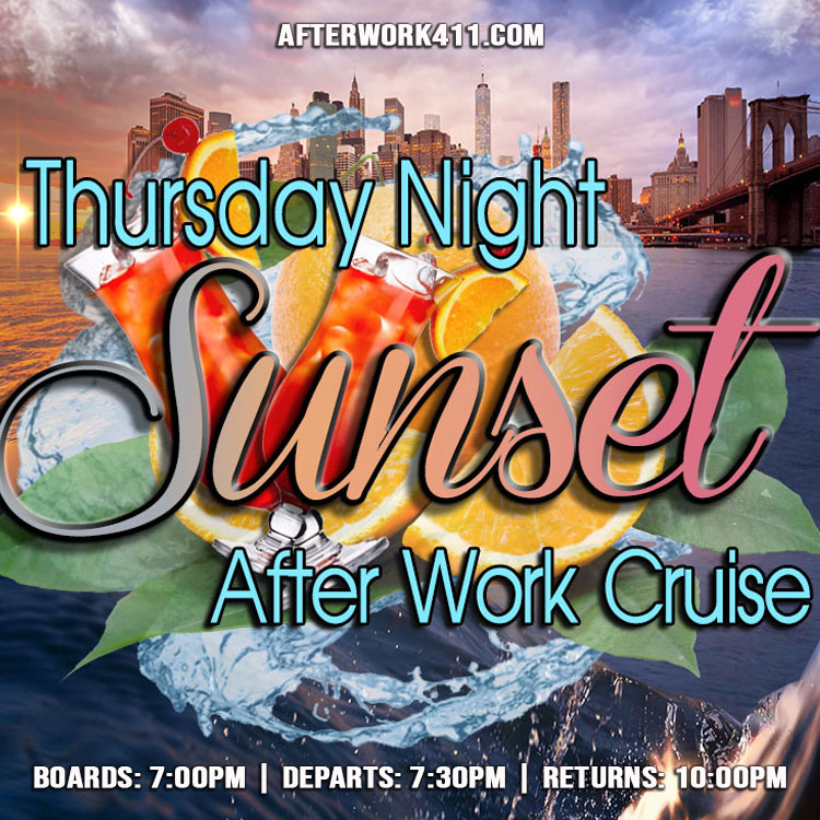 NYC Afterwork Cruise at the Skyport Marina Sunset Thursday After Work Cruise NYC