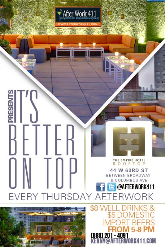 NYC After Work Thursday Empire Hotel Rooftop NYC