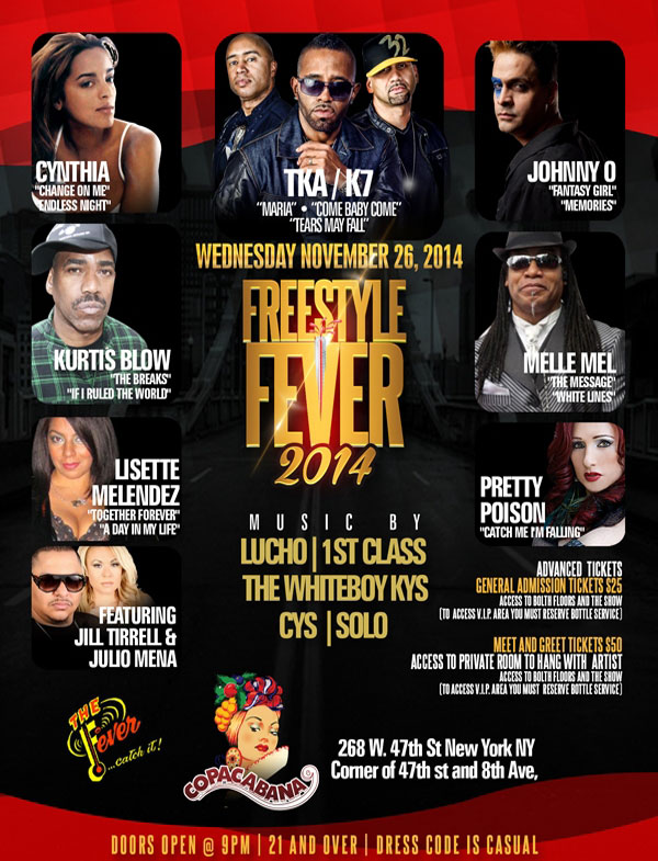 Freestyle Fever Thanksgiving Eve Party at the Copacabana NYC Times Sqaure