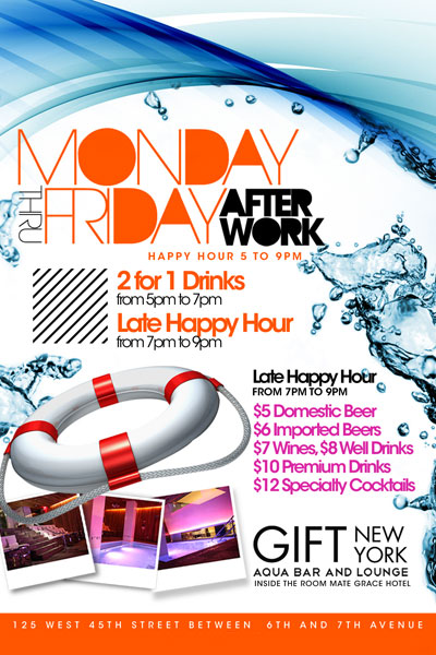 After work friday at Grace Hotel Flyer
