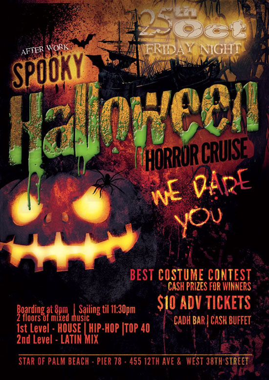NYC After Work Halloween Cruise NYC at Pier 78 Star of Balm Beach Boat Halloween NYC Flyer