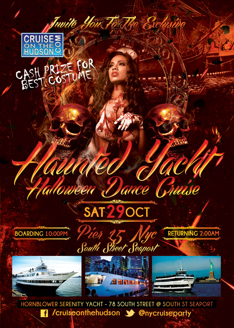 Haunted Yacht Dance Cruise aboard the Hornblower Serenity Yacht NYC Halloween Flyer